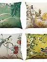 """set de 4 stil chinez stil retro perna acopere acoperă acasă birou canapea pătrat caz pernă (18 """"* 18"""")"""