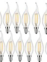 12pcs 2W 190 lm E14 Bec Filet LED CA35 2 led-uri COB Decorativ Alb Cald AC 220-240V