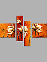 HANDMÅLAD Blommig/Botanisk Horisontell, Moderna Duk Hang målad oljemålning Hem-dekoration Fyra paneler