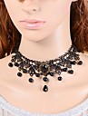Pentru femei Coliere Choker Sapphire sintetic Crown Shape Imitație de Perle Dantelă Perlă neagră La modă Turcă Clasic Bijuterii Pentru