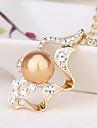 Pentru femei Coliere cu Pandativ  -  Perle, Imitație de Perle, Gold Pearl Inimă Design Unic, Modă, Euramerican Auriu, Alb, Gri Coliere Pentru Petrecere, Ceremonie, Serată / Perlă neagră