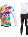 Miloto Dam Långärmad Cykeltröja med Haklapp-tights - Svart Cykel Klädesset, 3D Tablett, Snabb tork, Andningsfunktion, Svettavvisande,