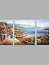 HANDMÅLAD Landskap Horisontell, Moderna Duk Hang målad oljemålning Hem-dekoration Tre paneler