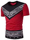 Bărbați Rotund Tricou Sport Bumbac Șic Stradă - Geometric Imprimeu Paisley Negru & Roșu