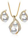 Pentru femei Seturi de bijuterii Colier / cercei Seturi de bijuterii de mireasă Cristal Imitație de Perle Ștras Lux Stil Atârnat Cerc