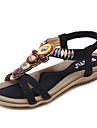 Pentru femei Pantofi PU Primăvară Vară Confortabili Tălpi cu Lumini Sandale Plimbare Toc Drept Vârf rotund Mărgele Găuri pentru Casual