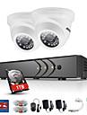 annke® 4ch 2pcs tvi 720p bildskärm ip nätverk cctv ahd dvr p2p kamera hemövervakningssäkerhetssystem