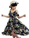 Fata lui Rochie Floral Poliester Vară Fără manșon Floral Bleumarin