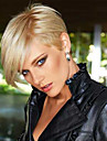 Dam Human Hair Capless Parykar Kolsvart Medium Rödbrun Beige Blond // Blekt Blont Kort Rakt Med lugg Sidodel