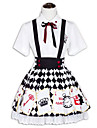 Princess Punk Lolita Dress Women\'s Outfits Cosplay Black Short Sleeve Short / Mini Costumes