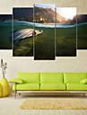Valsade kanfastryck Landskap Parfymerad, Fem paneler Horisontell Tryck väggdekor Hem-dekoration