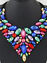 Γυναικεία Ζαφειρένιο Κρυστάλλινο Κολιέ σαν σαλιάρα Κολιέ Δήλωση Κοσμήματα κολιέ Κρύσταλλο Μοντέρνο κυρίες Πολυτέλεια Ευρωπαϊκό Λαμπερό Κόκκινο Πράσινο Μπλε Κολιέ Κοσμήματα Για