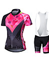 Malciklo Dam Långärmad Cykeltröja med Haklapp-shorts - Vit Brittisk Geometrisk Cykel Vadderade shorts Cykling Tights Tröja Klädesset,