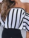 Pentru femei Bateau Bluză Casual - Dungi Sleeve Flare, Fără Spate