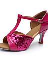 Personalizabili Damă Latin Paillertte Sandale Înăuntru Sequin Toc Personalizat Fucsia