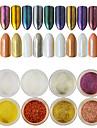 12pcs/set Akrylpulver Nail Glitter Glitterpulver Mirror Effect Glitter och glans Nail Art Design