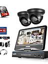 sannce 4-kanalars dvr-kits övervakningssäkerhetssystem med 2 720p dome kamera med 1tb hdd