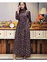 Damă Casul/Zilnic Vintage Swing Rochie-Floral Manșon Lung Stand Maxi Altele Primăvară Vară Talie Medie Micro-elastic Mediu