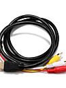 HDMI 1.4 Cablu Adaptor, HDMI 1.4 to 3RCA Cablu Adaptor Bărbați-Bărbați 1.5M (5ft)