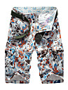 Bărbați Drept Simplu Talie Medie,Micro-elastic Pantaloni Chinos Pantaloni Scurți Pantaloni Culoare pură Floral Țiglă Imprimare