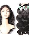 hårväft med stängning kroppsvåg hårförlängningar 4st 4 stycken naturligt svart indiskt humant hår väver #kgdaily mjuk
