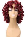 Parrucche sintetiche Riccio Parrucca riccia stile afro Rosso Per donna Senza tappo Parrucca naturale Corto Capelli sintetici