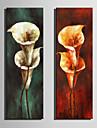 HANDMÅLAD Blommig/Botanisk Vertikal, Retro Duk Hang målad oljemålning Hem-dekoration Två paneler