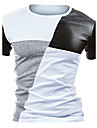 Rund hals Tynd Herre - Farveblok Bomuld, Patchwork Aktiv T-shirt Sort og hvid Hvid L / Kortærmet / Sommer
