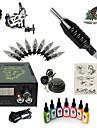 Starter Tattoo Kit 1 x teräksinen tatuointikone viivoihin ja varjostukseen Tattoo Machine LCD virtalähde 7 × 15ml Tattoo Ink 1 x
