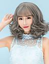 Perruque Synthetique Boucle Coupe Carre / Avec Frange Cheveux Synthetiques Marron / Gris Perruque Femme Court Perruque Naturelle /