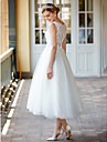 Princess Illusion Neckline Tea Length Lace Over Tulle Custom Wedding Dresses with Buttons Sashes / Ribbons by LAN TING BRIDE®