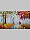 HANDMÅLAD Landskap Horisontell, Abstrakt Moderna Duk Hang målad oljemålning Hem-dekoration En panel