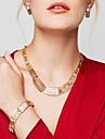 Pentru femei Seturi de bijuterii Coliere Brățară Cercei Inel Bijuterii Placat Auriu 18K de aur La modă Bijuterii Statement costum de