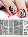 1 st modiga nagelstämplingsplattor nagellack skönhetsbild stenciler polska mallar