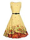 Pentru femei Vintage Șic Stradă Swing Rochie - Imprimeu Lungime Genunchi