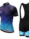Miloto Ανδρικά Κοντομάνικο Αθλητική φανέλα και σορτς ποδηλασίας - Λευκό / Μαύρο Ποδήλατο Σετ Ρούχων Spandex Gradient / Ελαστικό