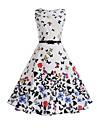 Pentru femei Muncă Concediu Vintage Bumbac Teacă Swing Rochie Floral Talie Inaltă Lungime Genunchi Alb Fluture
