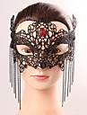 Svart mask sexig spets halloween fest snygg spets kvinnlig tofs kristall mask underkläder spets mask party