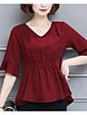 Pentru femei În V Bluză Mată Sleeve Flare Poliester
