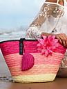 Femei Genți Toate Sezoanele Paie Tote Flori pentru Cumpărături Casual Mov Fucsia Maro Verde Albastru