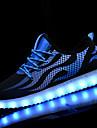 Bărbați Adidași de Atletism Tălpi cu Lumini Pantofi Usori Primăvară Toamnă PU Plimbare De Atletism Dantelă LED Toc Plat Negru/Alb