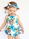 Bebelus Fete O - piesă Bumbac Vară Fără manșon Floral Albastru Deschis