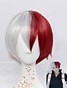 Syntetiska peruker Rak Naturligt vågigt Densitet Utan lock Röd Cosplay Peruk Korta Syntetiskt hår