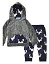 Bebelus Băieți Set Îmbrăcăminte Imprimeu Animal Modă Bumbac Bumbac Iarnă Primăvara/toamnă Manșon Lung Print Animal Gri