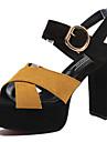 Pentru femei Pantofi PU Primăvară / Vară Confortabili / Gladiator / Balerini Basic Sandale Toc Îndesat Pantofi vârf deschis Cataramă