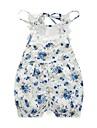 Bebelus Fete O - piesă Floral Dantelă 100% Bumbac Primăvară Vară Fără manșon Floral Albastru piscină