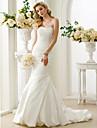 Trompetă / Sirenă Fără Bretele Trenă Court Satin Made-To-Measure rochii de mireasa cu Mărgele / Drapat Părți de LAN TING BRIDE®