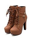 Damă Pantofi PU Toamnă Iarnă Confortabili Noutăți Cizme la Modă Cizme Toc Gros Vârf rotund Cizme/Cizme la Gleznă Cataramă Dantelă Pentru