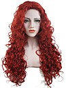 Femme Perruque Synthetique Long Boucle Rouge Perruque de Cosplay Perruque Naturelle Perruque de fete Perruque de celebrite Perruque