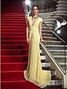Coloană / Teacă Gât V Mătura / Trenă Șifon Seară Formală Bal Militar Gală Elegantă Rochie cu Pliuri de TS Couture®